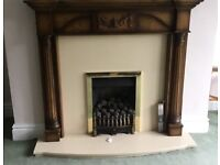 Kinder Oasis RC inset Gas fire with solid wood mantle with marble surround and hearth