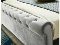 💖🔴Ideal furniture shop🔵💖KING SIZE PLUSH VELVET SLEIGH OTTOMAN STORAGE BED FRAME w OPT MATTRESS
