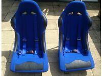 2 X racing bucket seats blue with harness