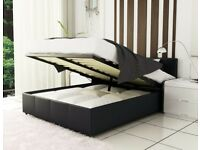 BRAND NEW DOUBLE AND KING OTTOMAN STORAGE LEATHER BED IN BLACK BROWN AND WHITE WITH MATTRESS OPTION