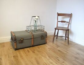 Vintage Canvas Steamer Trunk / Coffee Table / Storage Chest