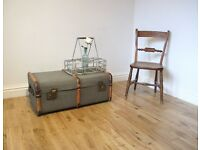 Vintage Canvas Steamer Trunk / Coffee Table / Storage Chest