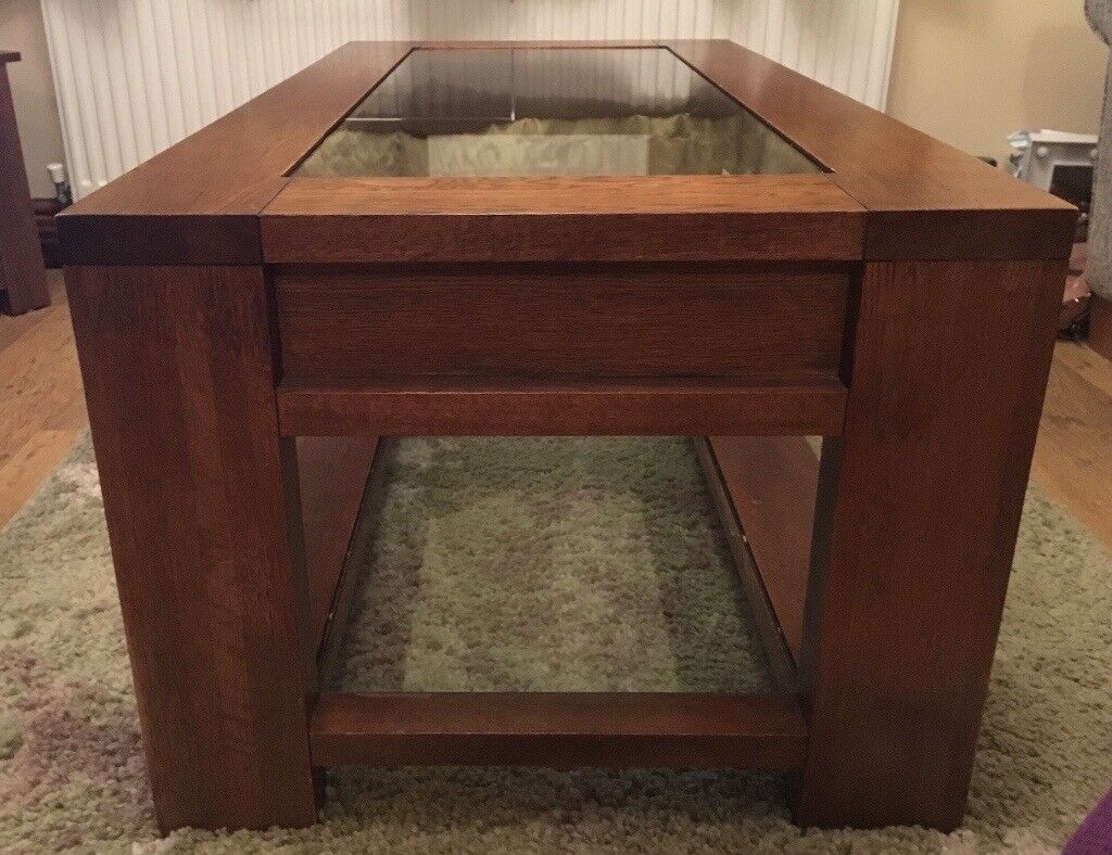 Dfs Solid Wood Coffee Table With Glass Top In Port Talbot Neath Gumtree