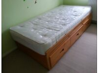 Single bed with drawers including mattress