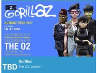 2 tickets - Gorillaz at the O2 4th December (£80 for both)