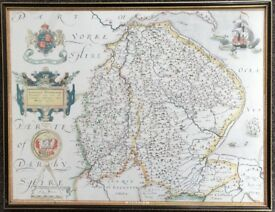 Saxtons Map Of Lincolnshire & Nottinghamshire 1576 Old British Maps