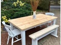 Pine Farmhouse Table, Chairs & 2 Benches