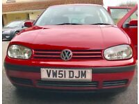 VW GOLF S 2001 1390 CC PETROL SERVICE HISTORY NEW MOT ONLY 86,500 MILES ALLOY WHEELS VERY CLEAN