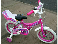 """Girls 14"""" Bubbles Bike with Doll Carrier"""
