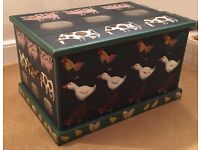 Artist Hand Painted Wooden Chest With Farmyard Animals and Brass Handles