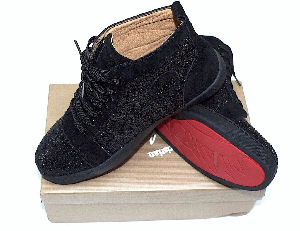 pretty nice a7b9f bf7bb GENUINE LEATHER CHRISTIAN LOUBOUTIN LOUIS SIZE 9 - 10 EU 44 MEN SNEAKERS  RED BOTTOM BLACK TRAINERS