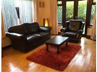 Genuine Brown Leather 2 Seater Sofa + Armchair Good Condition Delivery Possible