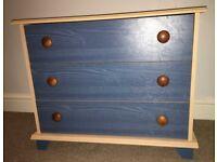 Chest of 3 Drawers - Bedroom Furniture / Kids Bedroom - Birch/Blue