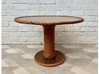 Vintage Round Coffee Table with Rope Nautical Style