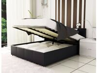 *** BEST SELLING BRAND *** BRAND NEW DOUBLE GAS LIFT UP STORAGE LEATHER BED & MATTRESS