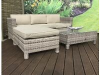 Homeflair Rattan Garden Furniture Suzie Mixed Weave corner sofa + Dining table + stool set £499