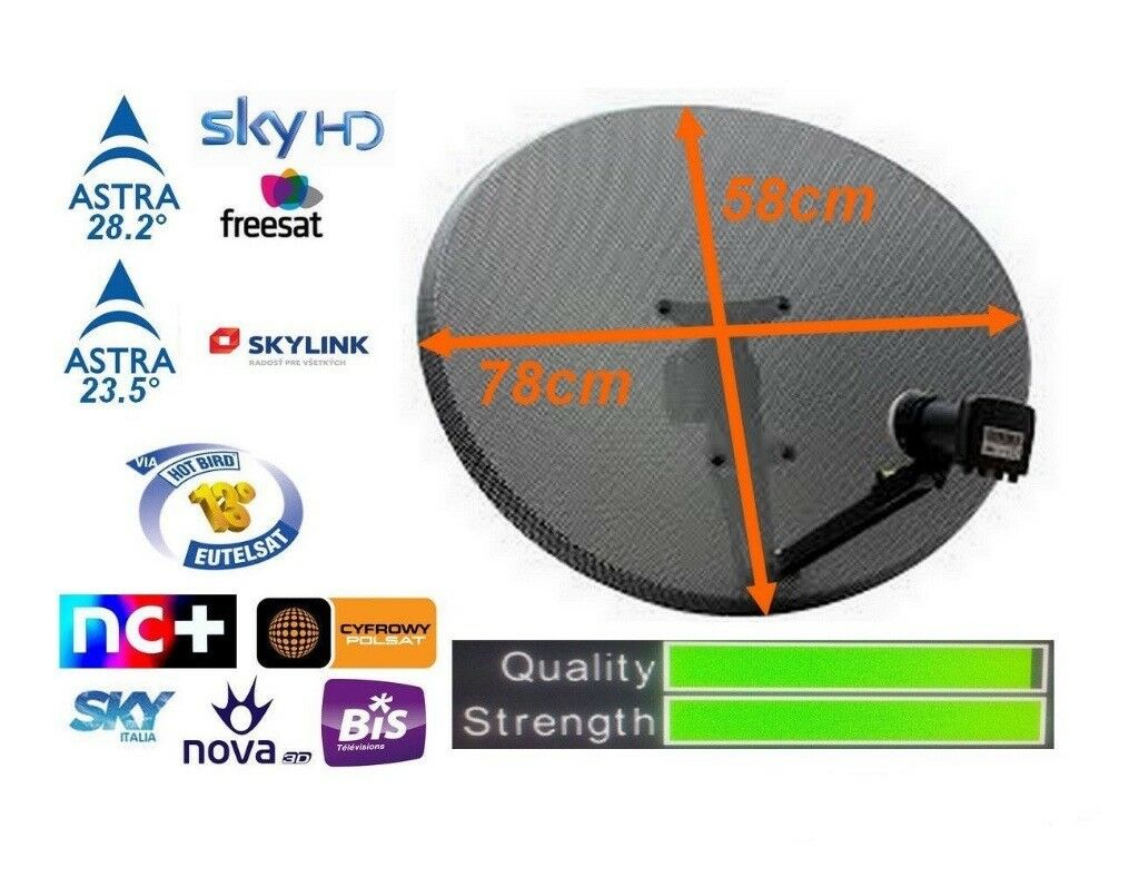 Satellite Dish with Quad LNB Freesat Sky HD Thor Hotbird NEW zone 2 bigger  only 25 pounds | in Aberdeen | Gumtree