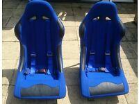 2 X racing bucket seats blue with 4 point harness used in great condition