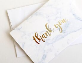 Marble Thank You Cards with Gold Foil Lettering