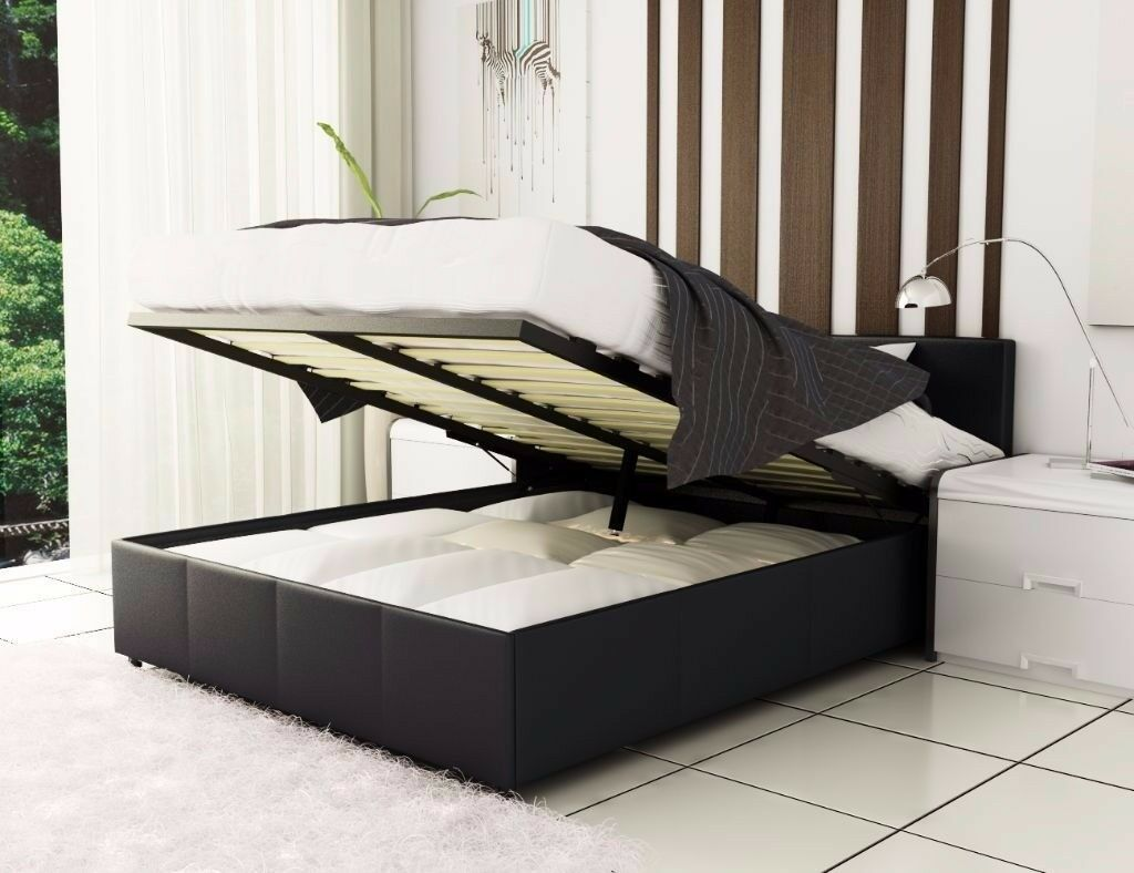 BRAND New Italian Faux Leather Gas Lift Storage Ottoman Bed and Variety Of Mattress