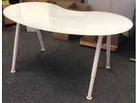 IKEA Glass Kidney Shaped Computer Desk for Office - 4 Available