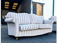 3 seater Gold/grey stripe duresta style couches DELIVERY AVAILABLE