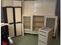 Gloss Cream and Dark Brown Kitchen Units & Doors
