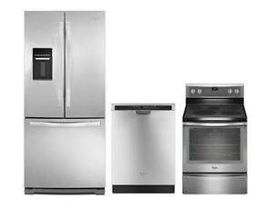Combo cuisine Whirlpool acier inoxydable : Frigo 30'', cuisinière 30'' et lave-vaisselle 24''