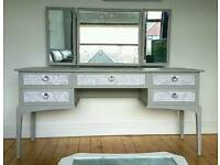 Stunning Vintage Newly Upcycled Stag Silver and Grey Dressing table Sideboard Furniture