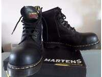 Dr Martens, size 10 UK, black industrial steel toe cap - worn once GREAT CONDITION.