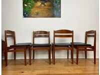 Vintage Mid Century Modern Set of 4 Danish Teak Chairs by Boltinge Møbelfabrik FREE LOCAL DELIVERY