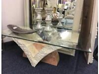 Natural stone marble and glass coffee table for sale bargain