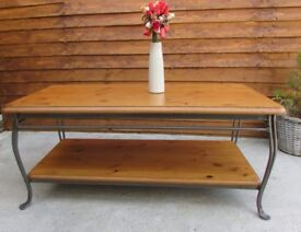 Coffee table unusual rare table metal and solid wood table DELIVERY AVAILABLE