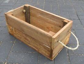 Rustic Rope Handled Barnwood STORAGE BOX or CRATE