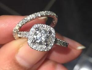 Brand New Diamonds Wedding and engagement Set (Size 6) with an appraisal of 8550  HALO STYLE