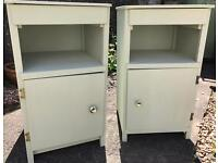 Set of bedside wooden 50's units/cabinets