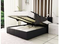 Brand New -- Double Gas Lift Storage Leather Bed -- Orthopaedic/Memory Foam Mattress-- Free Delivery
