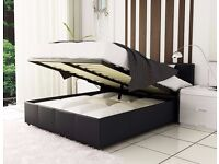 '' PAY ON DELIVERY'' -- DOUBLE OTTOMAN STORAGE LEATHER BED FRAME WITH MATTRESS -- ''DISCOUNT OFFER''