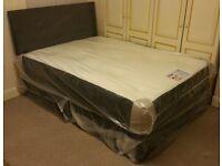 "***New*** Double 4'6"" Divan Bed with Memory Foam Mattress & Headboard"