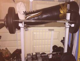 Gym equipment, Barbell, Ez bar, bench, squat rack & weight plates