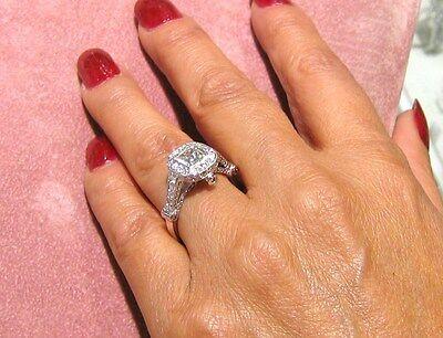 1.7CT PRINCESS CUT BEZEL SET ANTIQUE DIAMOND ENGAGEMENT RING