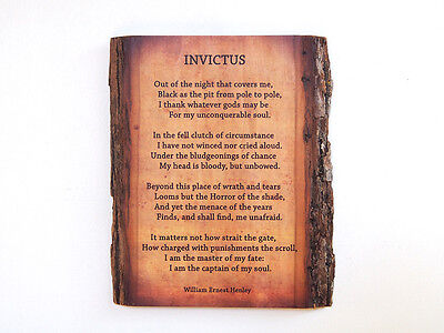 INVICTUS POEM by WILLIAM ERNEST HENLEY on Natural Edge Wooden Plaque - Wood Sign