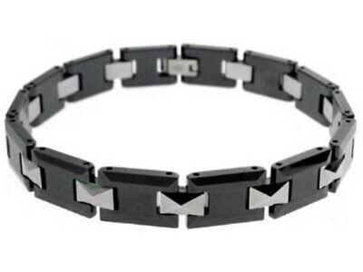 Black Ceramic & Stainless Steel Bracelet Squares Design