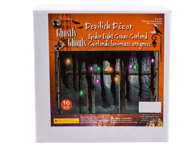 Halloween Spider String Lights Gauze Garland 10 LED Battery Operated Decoration