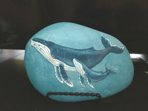 "Humpback Whales 8"" Rock Art & Display Stand"