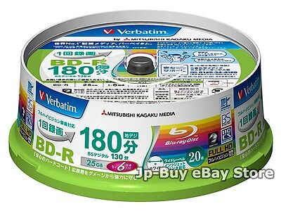 20 Verbatim Bluray Disc 6x Speed 25 GB BD-R Inkjet Printable Blu ray Recordable