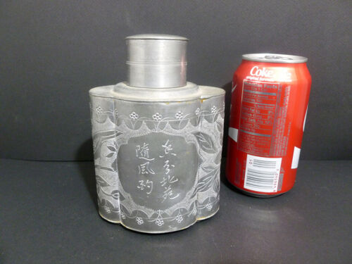 UNIQUELY ANTIQUE CHINESE PEWTER TEA CANISTER W/ CHARACTERS 1947