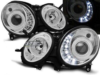 LED Tagfahrlicht Optik Scheinwerfer Set Mercedes Benz E-Klasse W211 06-09 chrom