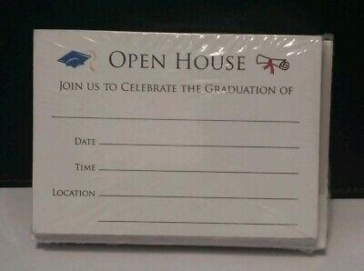 50ct Graduation Open House Invitation Party Cards White Stock Brand New!!! Graduation Open House