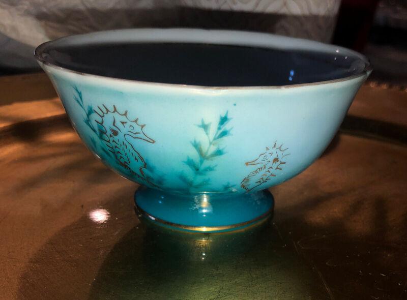 VTG Shafford Tea Cup No Handle Seahorse Hand Painted Blue Gold Trim 1950's?